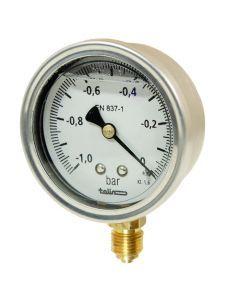Wakuometr z gliceryną 63mm  -1 do 0 bar  1/4″